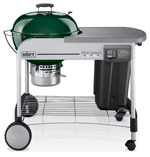 Weber 1487001 Performer® Platinum charcoal grill with green colored porcelain-enameled bowl and lid.
