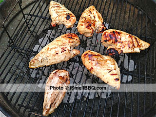 Grilled chicken breasts, back on side A, getting close to target temp.