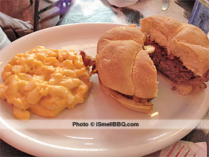 Keller's half-pound Western burger (minus the Bar-B-Q sauce) with macaroni & cheese