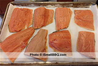 Salmon after rinsing, air drying, and lightly salted