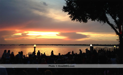 Sunset over Lake Eustis as we waited for the fireworks.